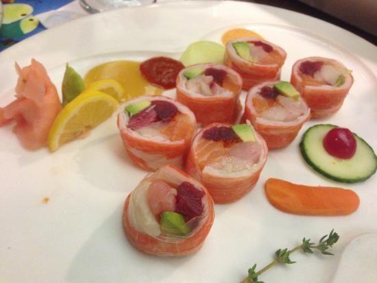 Sashimi Roll (fish, crabmeat, avocado, asparagus)