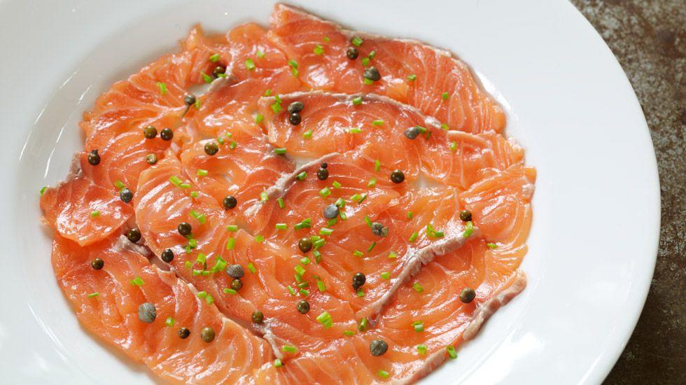 Seared Salmon (seared salmon, caper, mustard sauce, truffle oil)