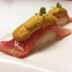 Toro with Uni (kizami wasabi, tobiko caviar)